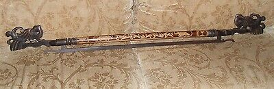 RARE ANTIQUE/VINTAGE CARVED WOOD CURTAIN ROD & FINIALS WALKING STICK STAFF Lot A