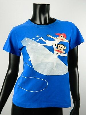 Paul Frank Womens T Shirt Julius The Monkey Ice Figure Skating Blue Cotton