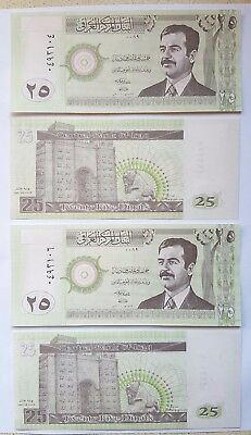 Saddam Hussan 25 Dinar IRAQI bank notes. 4 consecutive notes in mint condition