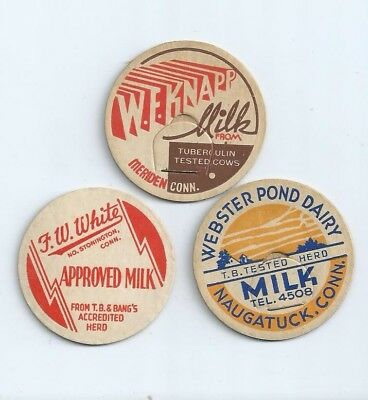"""Three different milk bottle caps from """"Conn."""" #2"""