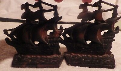 Pair Of Vintage Mini Cast Iron Ship Bookends
