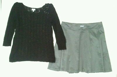 Mimi Black Sweater Gap Maternity Gray Skirt Lined Outfit L M 4  Free Shipping __