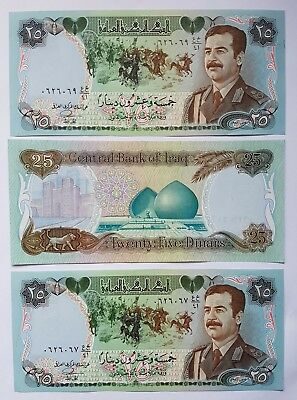 Saddam in uniform 25 Dinar IRAQI  notes. 3 consecutive notes in mint condition