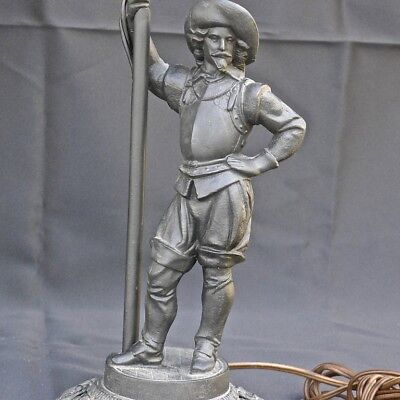 Antique FIGURAL LampSpelter MUSKETEER Cast Iron Base Excellent