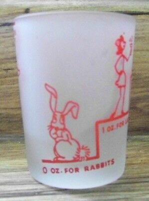 """Vintage Frosted """"Say When"""" Rabbit Pig Jack Ass  Collectible Shot Glass"""