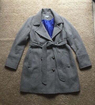 A Pea In The Pod Gray Wool Blend Lined Maternity Pea Coat Jacket Womens Large L