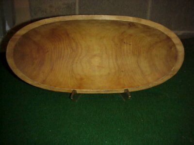 Antique Wooden Oblong Trough Dough Mixing Bowl Hand Turned Light Wood 18 1/2""