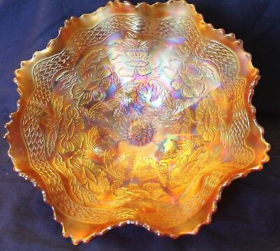 Fenton Two Flowers Large Footed Bowl - Marigold