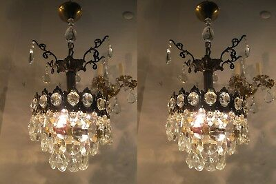 A Pair of Antique Vintage Basket Style Mini Chandelier lamp light 1940s 9in dmtr