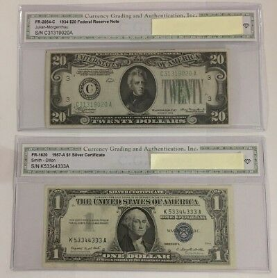 1934/1957 old us paper money lot - 2 Bills.        Silver Certificate