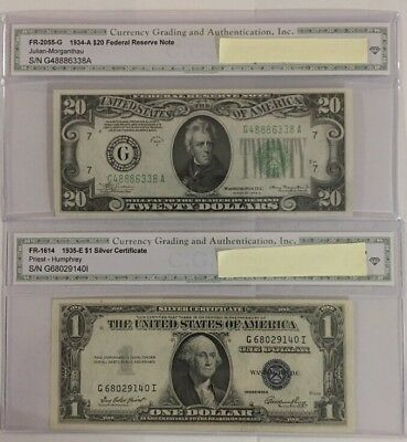 1934/1935 old us paper money lot - 2 Bills         Silver Certificate