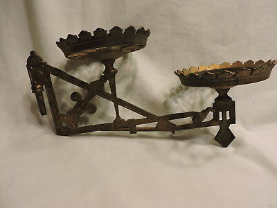 Antique Cast Iron Double Oil Lamp Wall Holder Sconce Gold -No Bracket-