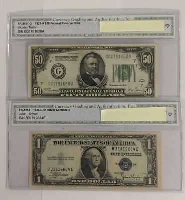 1928/1935 old us paper money lot - 2 Bills.        Silver Certificate