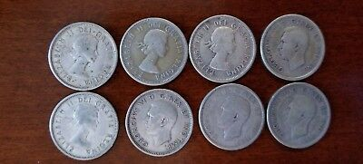 8-Canadian Silver quarters.