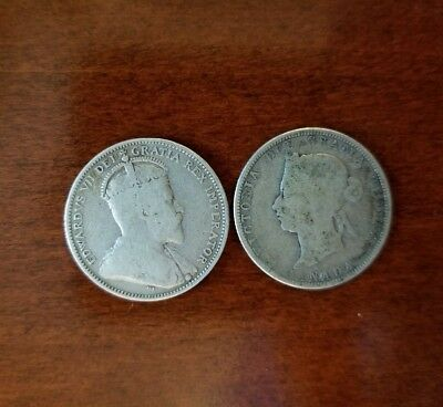 2-Silver Canadian Quarters. 1881 and 1910.