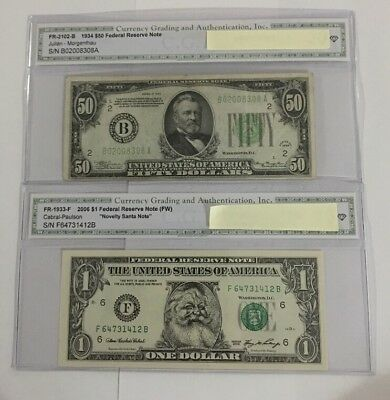 1934/2006 old us paper money lot - 2 Bills.