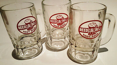 """Vintage Lot of 3 REED & BELL ROOT BEER Soda Pop Mugs Red ACL Logo 5 1/2"""" Tall"""