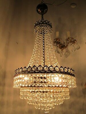 Antique vintage French Basket Style Italian Octagon Crystal Chandelier 1940s 14""