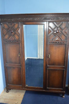 Antique Vintage Wardrobe with 3 doors and a mirror
