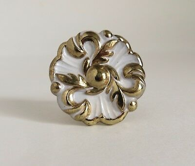 "Vintage 1.5"" Hollywood Regency Brass Cabinet Pull White & Gold Drawer Knob"