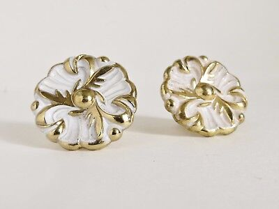 "Two Vintage 1"" Hollywood Regency Brass Cabinet Pull White & Gold Drawer Knobs"