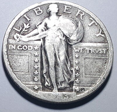 1923-P 25 Cent US Silver Standing Liberty Quarter Dollar Antique Currency Coin