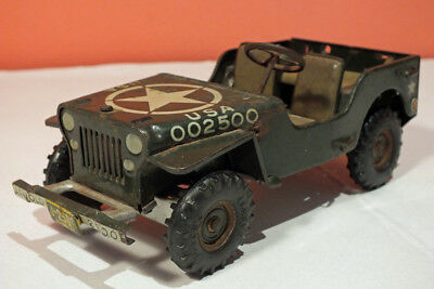 Vintage Arnold Wind Up Toy Tin Army Jeep 1951 US Zone Germany Willys 2500 Parts