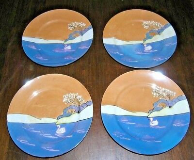 (4) Lusterware Peach and Blue Salad Plates Cottage on Lake