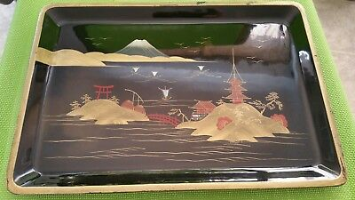 Black Golden Pearl Inlayed Oriental Japanese Asian Collectors Tray!