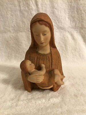 """Vintage Japan Hand Painted Blessed Mary and Jesus 5"""" Statue 1961"""