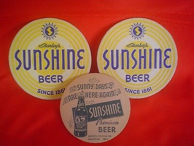 """Lot 3 NOS New Vintage Barbey's Sunshine Beer Coasters Since 1861 & """"Sunny Days"""""""