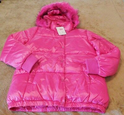 JUSTICE Pink Puffy Jacket....16/18...NWT...Removable Hood...Water Resistant