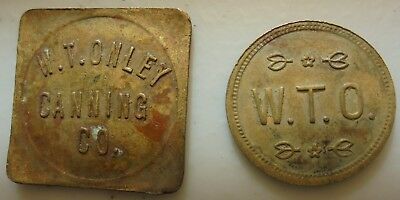 2 Different Girdletree Maryland Md Trade Token W.t.o. W.t.onley Canning Co 1 Bkt