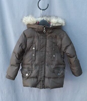 ZARA boys girls brown down parka ski jacket size 2-3 yrs good