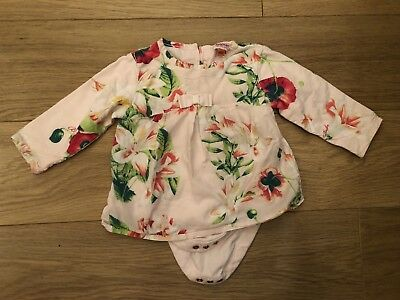 Baby Girls Ted Baker 6-9 Months Dress Top Vest Long Sleeved All In One