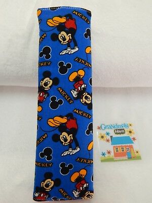 Seat Belt Cover Fits Standard Seat Belt - Mickey Mouse on Blue
