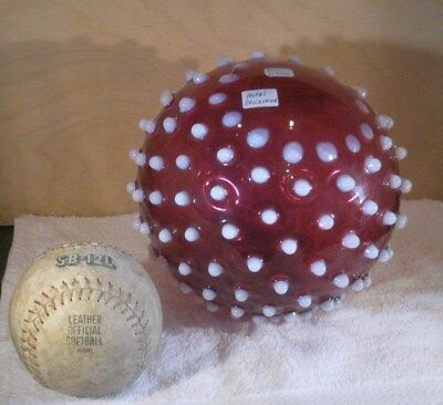Very RARE   c1880s  Hobbs   WITCHES BALL  Cranberry Opalescent Hobnail   Whimsey