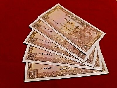 SYRIA / Lot of 5 Notes / One Syrian Pounds (1982) / Consecutive numbers / UNC
