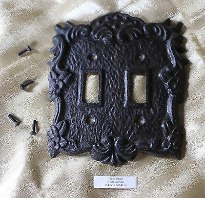 Cast Iron Metal Double Light Switch Plate Cover Carved w/ Screws Vintage Antique