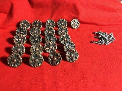 Lot of 21 Antique Vintage Drawer Door Knobs Brass Floral Cast RDCA 1960
