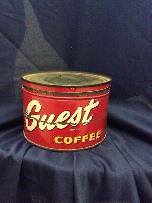 Vtg Guest Coffee Brand Old Tin Can Advertising Certified Grocers California Neat