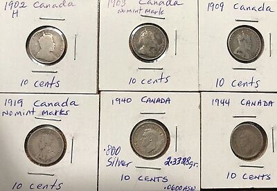 Canada 10 Ten Cents 1902-H, 1903, 1909, 1919, 1940 & 1944