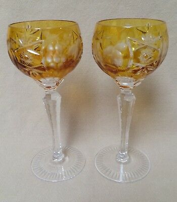 Vintage Crystal Wine Hock Goblets Etched Pair Yellow