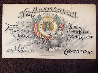 Rare Old Pre-Pro 1800s WILLIAM MAEGERLEIN BEER RACKING HOSE Chicago Trade Card