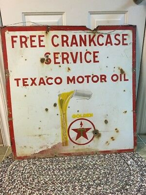 Rustic Original Texaco Porcelain Sign Gas And Oil