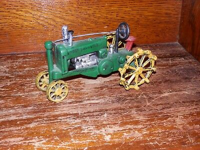 Reproduction Cast Iron Green and Yellow John Deere Farm Tractor