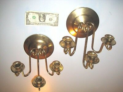 Pair 3 Scroll Arm  Brass Tone  Candle Holders Wall Sconces Made in USA