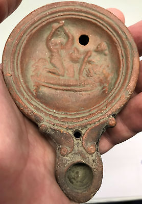 5AD Authentic Ancient Roman MAN & WOMAN EMBRACING Terracotta Oil Lamp i66818