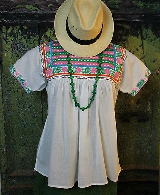 Multi Color Hand Embroidered Blouse Short Sleeve Maya Chiapas Mexico Hippie Boho
