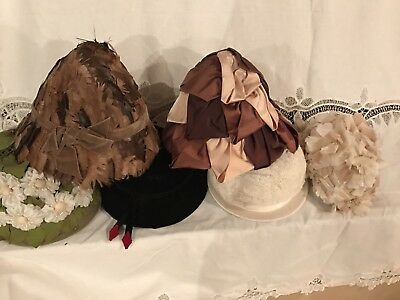 Lot Of Six Vintage Hats Feathers Lace Satin Flowers Forties And Fifties